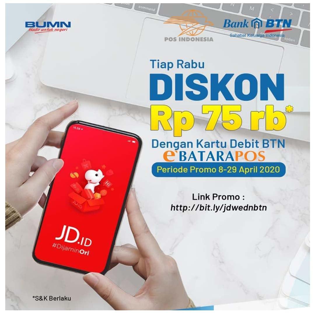Diskon Rp75.000 dengan Kartu E-Batara Pos setiap Hari Rabu