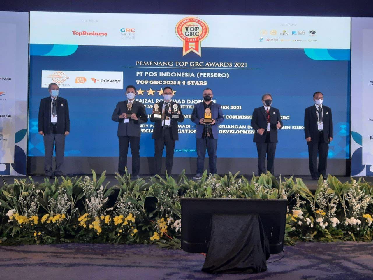 Pos Indonesia Raih Empat Penghargaan TOP GRC Awards 2021