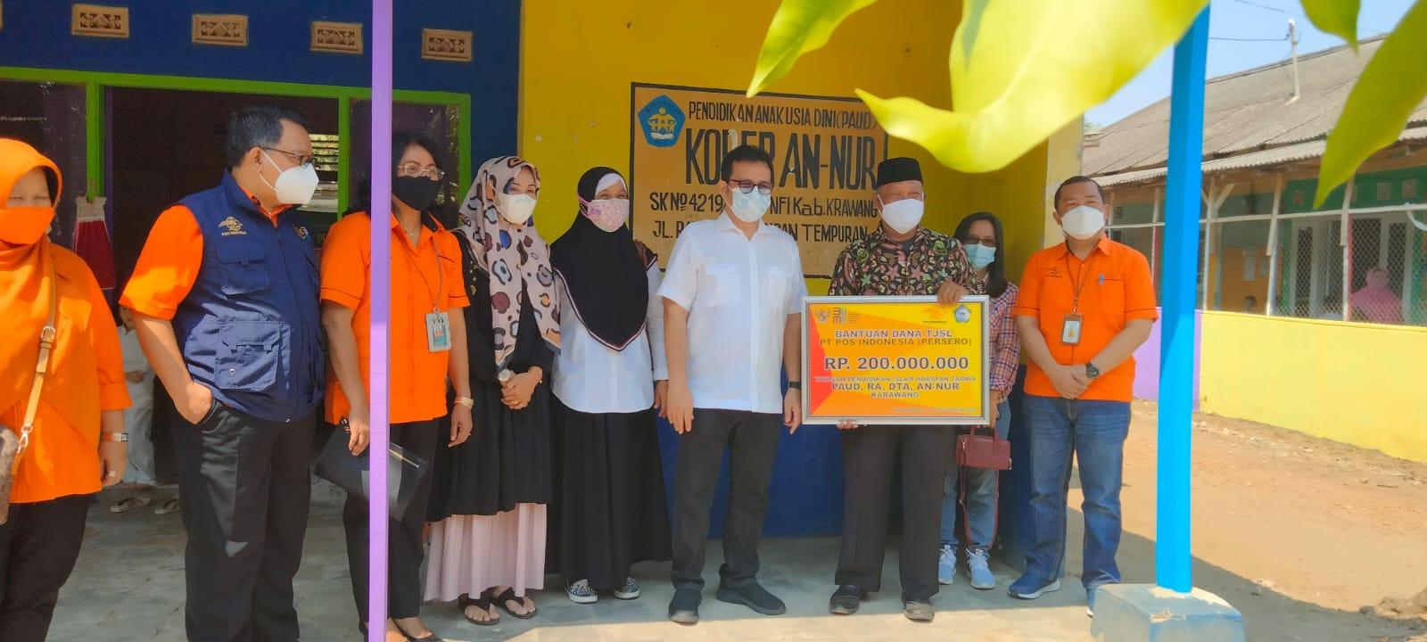 Pos Indonesia Serahkan Bantuan CSR untuk Yayasan Pendidikan Islam An-Nur Karawang